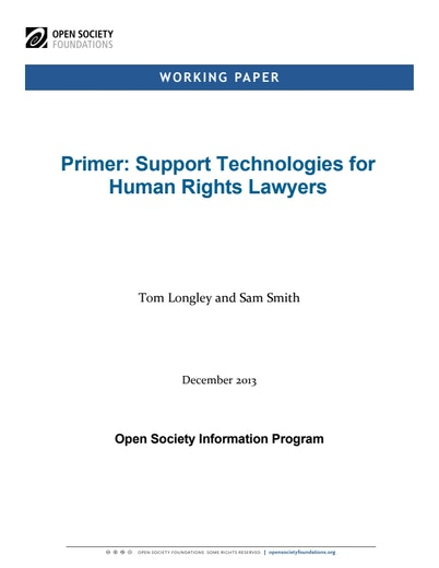 First page of PDF with filename: primer-support-technologies-for-human-rights-lawyers-20140210.pdf
