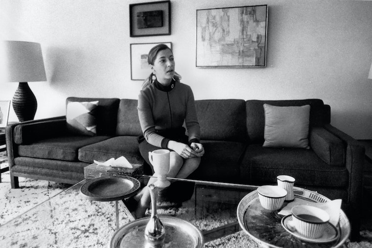 Ruth Bader Ginsburg photographed in a living room
