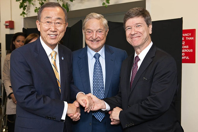 George Soros with Ban Ki-moon and Jeffrey Sachs