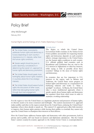 First page of PDF with filename: policy-brief-human-rights-and-the-failings-of-us-public-diplomacy-20130200.pdf