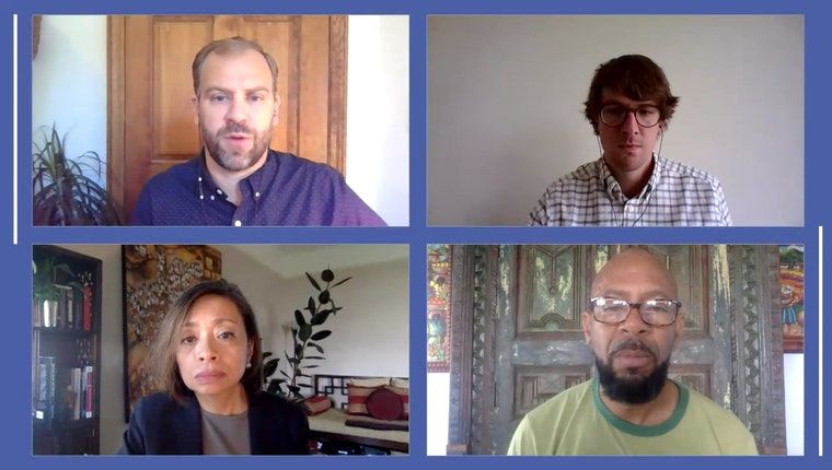 Screen shot of four people in a Zoom meeting