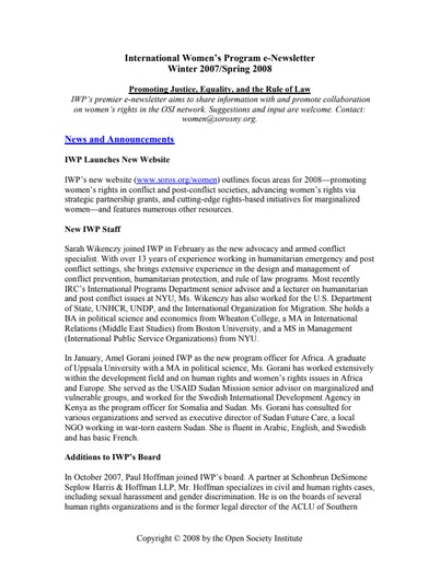 First page of PDF with filename: womennewsletter_spring2008.pdf