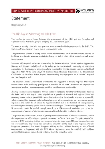 First page of PDF with filename: EU-role-addressing-DRC-crises-20121217.pdf