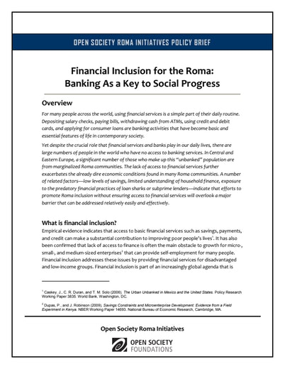 First page of PDF with filename: roma-financial-inclusion-20120321.pdf