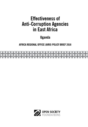 First page of PDF with filename: effectiveness-of-anticorruption-agencies-in-east-africa-uganda-20160913.pdf