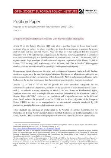 First page of PDF with filename: return directive position paper 20140428.pdf