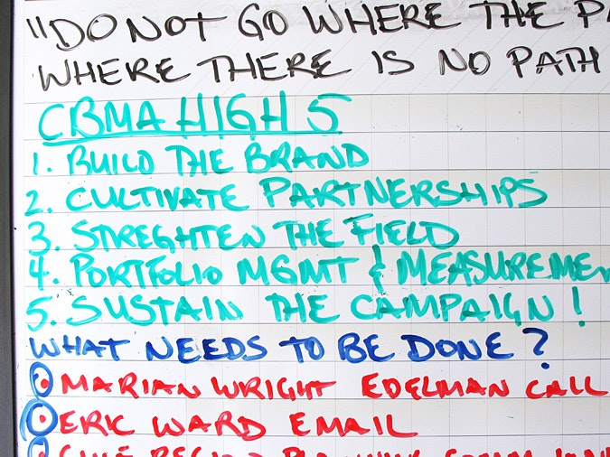 List of goals written on whiteboard