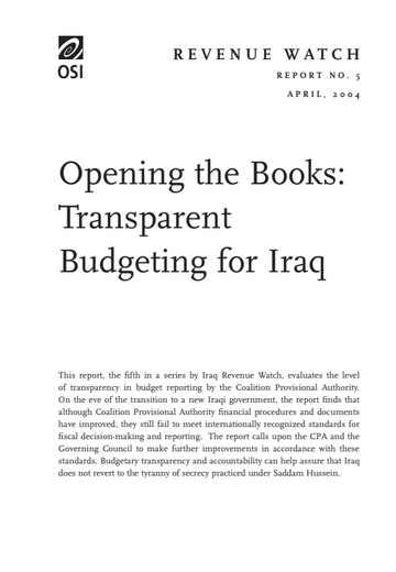 First page of PDF with filename: iraqbudget.pdf
