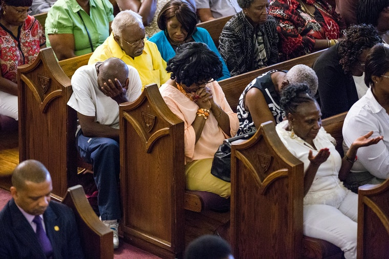 Mourners in church
