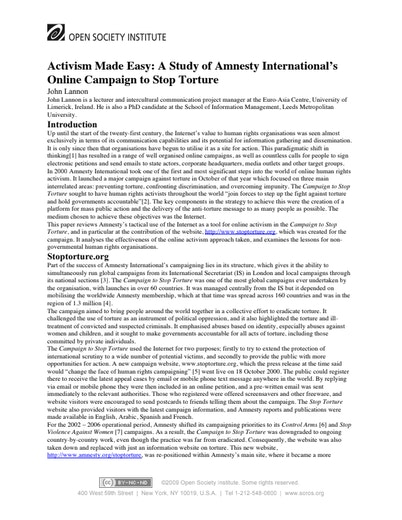First page of PDF with filename: torture-activism-20041101.pdf