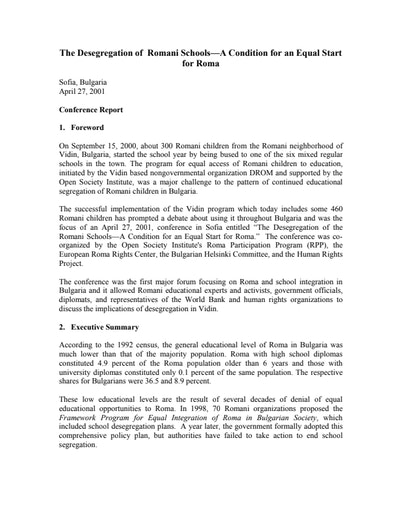 First page of PDF with filename: roma_bulgaria_20010427.pdf