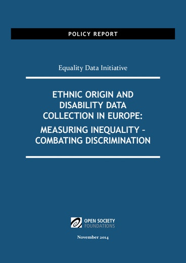 First page of PDF with filename: ethnic-origin-and-disability-data-collection-europe-20141126.pdf