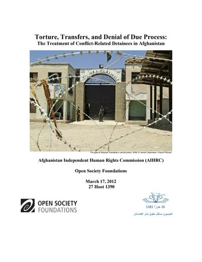 First page of PDF with filename: conflict-related-detainees-afghanistan-20120319.pdf