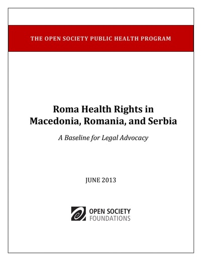 First page of PDF with filename: roma-health-rights-macedonia-romania-serbia-20130628.pdf