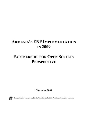 First page of PDF with filename: armenia-enp-20091101.pdf