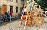 Children on an outdoor play structure