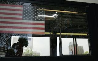 A man sitting on a bus
