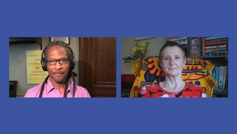"""Video stills of Carl Hart and Kasia Malinowska from """"Drug Use for Grown-Ups: A Conversation with Carl Hart"""""""