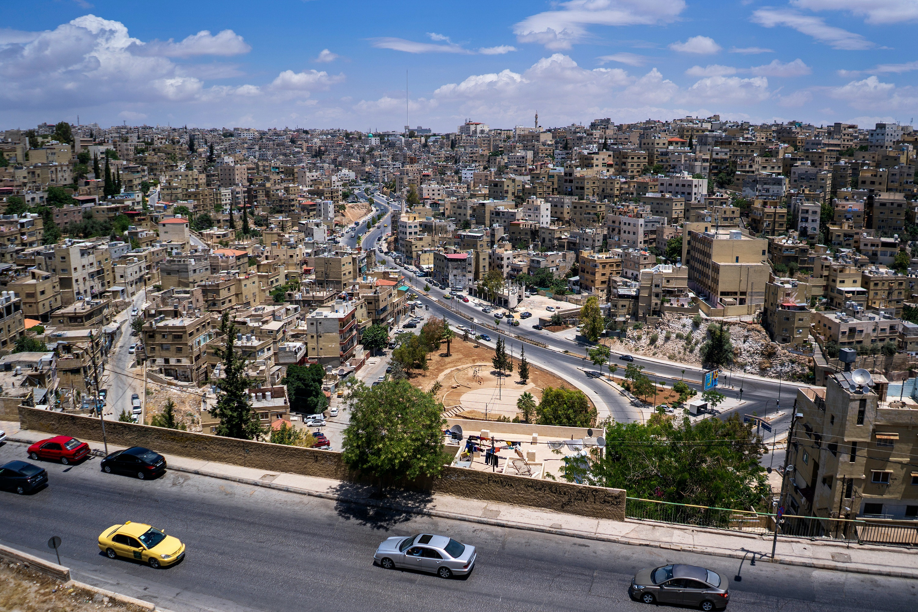 A view from above the city of Amman, Jordan.