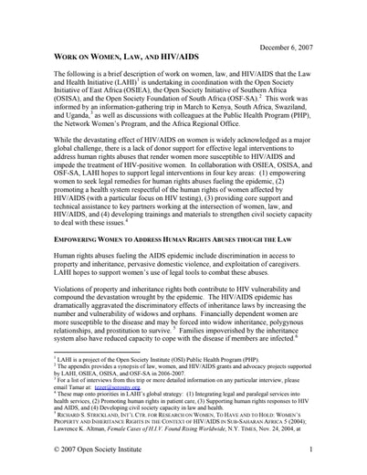 First page of PDF with filename: women-and-hiv-update-20080411.pdf