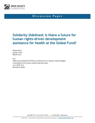 First page of PDF with filename: solidarity-sidelined-20150611.pdf