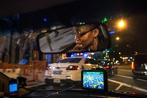 A driver at night in Washington, D.C.