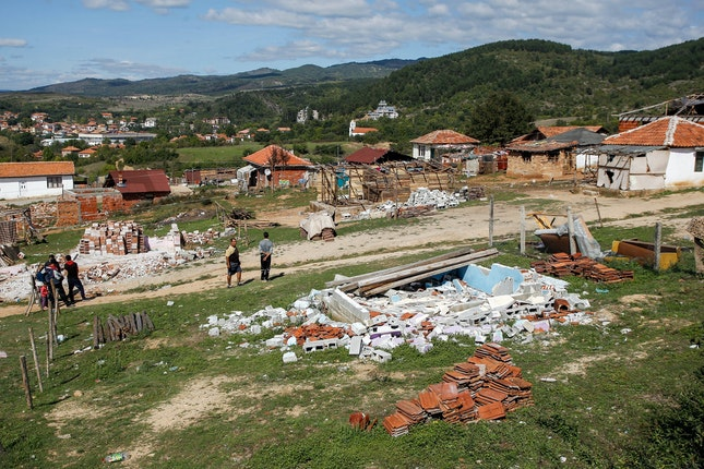 Remains of demolished homes