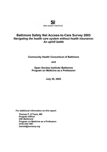 First page of PDF with filename: Baltimore_SafetyNet_2003.pdf