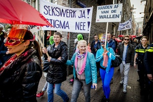 People marching with signs