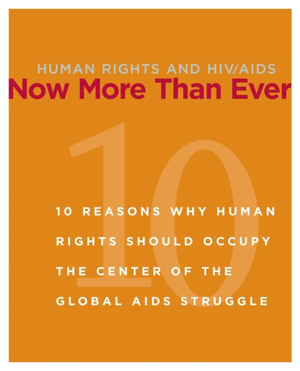First page of PDF with filename: human-rights-and-hiv:aids-now-more-than-ever-20090701.pdf