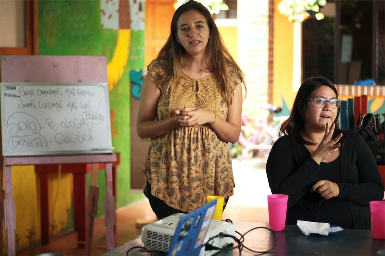 Two women giving a presentation