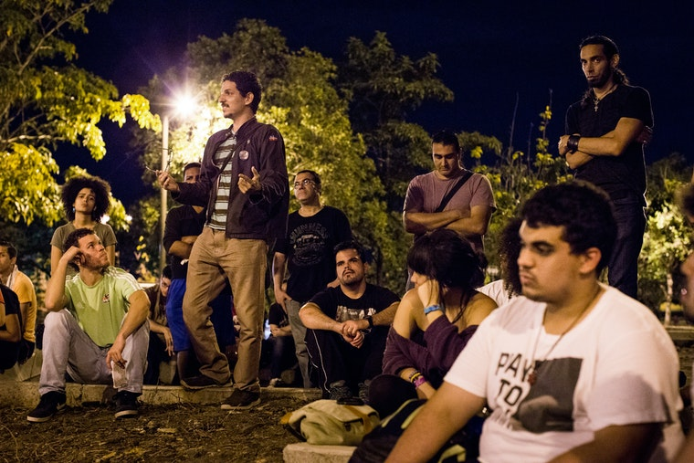 Students gather for a discussion