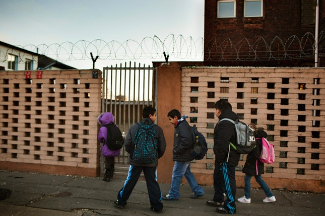 A group of kids walking